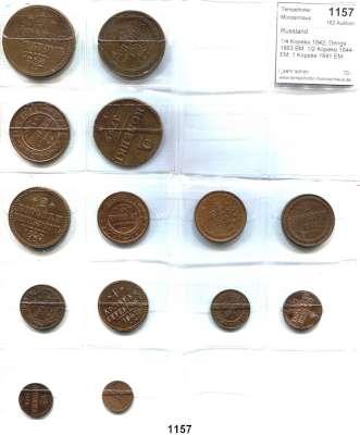 AUSLÄNDISCHE MÜNZEN,Russland LOTS   LOTS   LOTS 1/4 Kopeke 1842; Denga 1863 BM; 1/2 Kopeke 1844 EM; 1 Kopeke 1841 EM; 1880; 2 Kopeken 1799 EM; 1840 EM; 1852 EM; 1862 BM; 1869 EM; 3 Kopeken 1852; 1881; 5 Kopeken 1859 EM und 1874 EM.  LOT 14 Kupfermünzen.