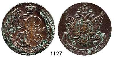 AUSLÄNDISCHE MÜNZEN,Russland Katharina II. 1762 - 1796 5 Kopeken 1791 AM.  48,23 g.  Bitkin 861.  Cr. 59.2.