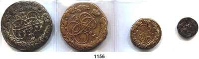AUSLÄNDISCHE MÜNZEN,Russland LOTS   LOTS   LOTS Poluschka 1772 EM; 1 Kopeke 1796 EM; 5 Kopeken 1781 EM; 1794 EM und 4 Tropfkopeken.  LOT 8 Stück.