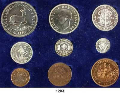AUSLÄNDISCHE MÜNZEN,Südafrika Georg VI. 1937 - 1952 Kurssatz 1947 (9 Werte)  1/4 Penny bis 5 Shillings.  KM PS 19.  Im Originaletui.