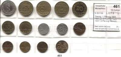 Besetzte Gebiete  -  Kolonien  -  Danzig,L O T S      L O T S      L O T S  Danzig, 1 Pfennig 1923, 1937(2); 2 Pfennig 1926, 1937; 5 Pfennig 1923(2); Saarland, 10 Franken 1954(2); 20 Franken 1954(4) und 100 Franken 1955.  LOT 14 Stück.