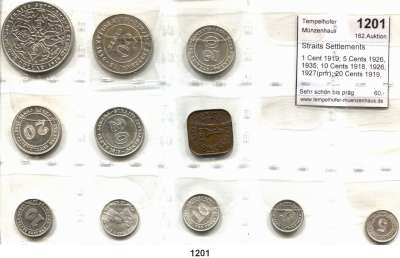 AUSLÄNDISCHE MÜNZEN,Straits Settlements L O T S     L O T S     L O T S 1 Cent 1919; 5 Cents 1926, 1935; 10 Cents 1918, 1926, 1927(prfr); 20 Cents 1919, 1926, 1935; 50 Cents 1920 und Dollar 1919.  LOT 11 Stück.