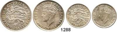 AUSLÄNDISCHE MÜNZEN,Zypern Georg VI. 1936 - 1952 9 Piaster 1938 und 18 Piaster 1940.  Schön 25 und 26.  KM 25 und 26.  LOT 2 Stück.