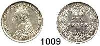 AUSLÄNDISCHE MÜNZEN,Großbritannien Viktoria 1837 - 1901 Sixpence 1889.  Spink 3929.  Kahnt/Schön 126.  KM 760.