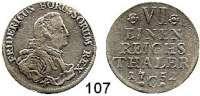 Deutsche Münzen und Medaillen,Preußen, Königreich Friedrich II. der Große 1740 - 1786 1/6 Taler 1752 C, Kleve. 4,23 g.  Brustbild schmal, 9 Perlen am Kragen.  Kluge 92.2/a.  v.S. 273.  Olding 50.