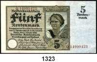 P A P I E R G E L D,R E N T E N B A N K  5 Rentenmark 2.1.1926.  KN 8-stellig.  Serie: Q.  Kennnummer braun.  Ros. DEU-209 F.