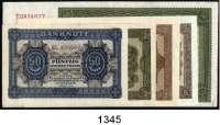 P A P I E R G E L D,D D R  50 Pfennig bis 50 Mark 1948.  Ros. SBZ-10b, 11b, 12b, 13b, 16(Mittelknick).  LOT 5 Scheine.