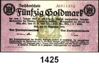 P A P I E R G E L D   -   N O T G E L D,Schleswig - Holstein Kiel Provizialausschuß.  5 (Knick), 10 und 50 Goldmark 31.12.1923.  Müller 2780.1, 2a, 3.  LOT 3 Scheine.