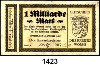P A P I E R G E L D   -   N O T G E L D,Hessen Worms Stadt.  2 Milliarden Mark 15.10.1923.  Keller 5711.  Kreis.  50 Millionen Mark 15.9.1923.  300 Millionen Mark 22.9.1923.  1 Milliarde Mark 15.10.1923.  Keller  5718 d, e, f.  LOT 4 Scheine.