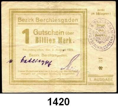 P A P I E R G E L D   -   N O T G E L D,Bayern Berchtesgaden Bezirk.  2, 5, 10, 20, 50, 100 Milliarden Mark, 1 Billion Mark 9.8.1923.  Keller 313 e.  LOT 7 Scheine.