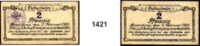 P A P I E R G E L D   -   N O T G E L D,Bayern Neuaubing Hauptkraftwagenwerkstätte.  2 Pfennig 11.2.1920.  1x mit Stempel und 1x ohne Stempel.  Tieste 4815.05.02.  Pick 967(Papiergeld Bayerns).  LOT 2 Scheine.