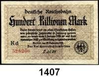 P A P I E R G E L D   -   N O T G E L D,Reichsbahn Berlin 100 Billionen Mark 25.9.1923.  Verfälschung des 100 Millionen Mark-Scheines.  Serie Kd.  Müller/Geiger/Grabowski 13. Fä.