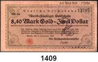 P A P I E R G E L D   -   N O T G E L D,Reichsbahn Berlin 4,20 Mark Gold 7.11.1923.  Serie RA-49(nicht im Katalog gelistet).  8,40 Mark Gold 7.11.1923(Fälschung?).  Serie HR-34(nicht im Katalog gelistet).  Müller/Geiger/Grabowski 002.39, 40.  LOT 2 Scheine.