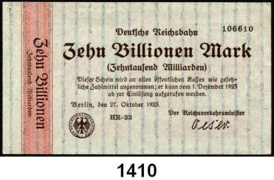 P A P I E R G E L D   -   N O T G E L D,Reichsbahn L O T S     L O T S     L O T S Berlin,  1 Billion Mark, 10 Billionen Mark 27.10.1923.  2 Billionen Mark 6.11.1923.  Cassel,  1 Billion Mark, 5(2) Billionen Mark 24.10.1923.  Frankfurt/Main,  100 Milliarden Mark 22.10.1923, 10 Billionen Mark  6.11.19123.  Karlsruhe,  500 Milliarden Mark, 1 Billion Mark, 10 Billionen Mark 15.10.1923, 5 Billionen Mark 15.11.1923.  Stuttgart,  5 Billionen Mark 9.11.1923.  Müller/Geiger/Grabowski 002.24 a, 26 a, 31 b, 004.24 c, 25 a, 25 b, 008.11, 21, 012.12 b, 14 a, 15 a, 16 a, 021.12.  LOT 13 Scheine.