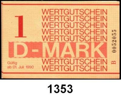 P A P I E R G E L D,D D R Gefängnisgeld 1, 5, 10, 50 Pfennig und 1 D-Mark 1.7.1990.  Serie B.  Jeweils 20 Stück,  Die Scheine sind meist mit fortlaufender Nummerierung und ungestempelt.  Ros. MDI-34, 35, 36, 37, 38.  LOT 100 Scheine.