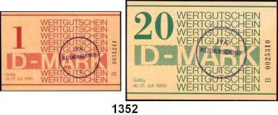 P A P I E R G E L D,D D R Gefängnisgeld 1, 5, 10, 50 Pfennig, 1(gebraucht), 5(gebraucht), 10, 20 D-Mark 1.7.1990.  Serie B.  Die Markwerte sind gestempelt mit einem Rundstempel