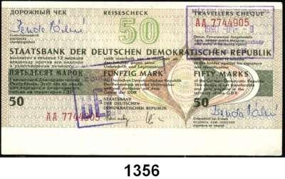 P A P I E R G E L D,D D R L O T S     L O T S     L O T S Reiseschecks zu 50 Mark (eingelöst, wenig gebraucht, 18x) und 500 Mark (blanko, fast kassenfrisch, 16x)  LOT 34 Stück.