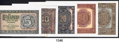 P A P I E R G E L D,D D R  5 bis 100 Deutsche Mark 1955.  Ros. DDR 11 bis 15.  SATZ 5 Scheine