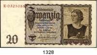 P A P I E R G E L D,R E I C H S B A N K  20 Reichsmark 16.6.1939.