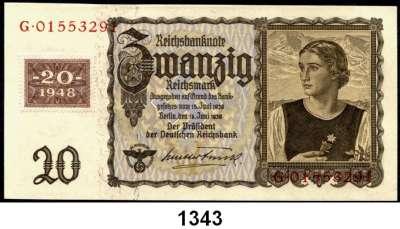 P A P I E R G E L D,D D R  20 DM-Koupon 1948 auf 20 Reichsmark vom 16.6.1939.  Ros. SBZ-7.
