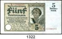 P A P I E R G E L D,R E N T E N B A N K  5 Rentenmark 2.1.1926.  KN rotbraun.  DEU-209 b.