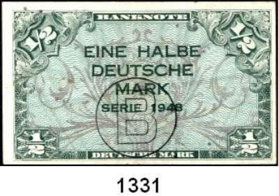 P A P I E R G E L D,BUNDESREPUBLIK DEUTSCHLAND  1/2 Deutsche Mark 1948 mit B-Stempel.  Ros. WBZ-13 a.