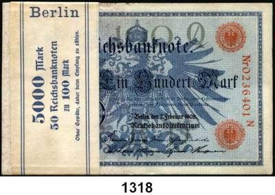 P A P I E R G E L D,K A I S E R R E I C H  100 Mark 7.2.1908.  LOT 50 Scheine (Bündel mit Banderole; überwiegend fortlaufende Nummern).  Ros. DEU-31 b.