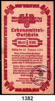 P A P I E R G E L D,Winterhilfswerk  NSDAP Ortsgruppe Milow.  1/2 Reichsmark.  Lebensmittelgutschein 1935.  Eingelöst in Bützer, Kreis Jerichow und Milow.  LOT 2 Scheine.