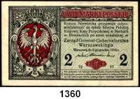 P A P I E R G E L D,B E S A T Z U N G S A U S G A B E N     I. W E L T K R I E G Generalgouvernement Warschau 1/2 Marki und 2 Marki 9.12.1916.  Ros. EWK-25 und 27 b.  LOT 2 Scheine.