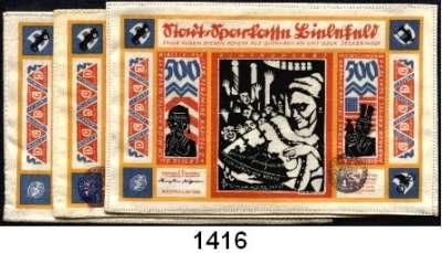 P A P I E R G E L D   -   N O T G E L D,Notgeld der besonderen Art Bielefelder Stoffgeld 500 Mark 1.7.1923.