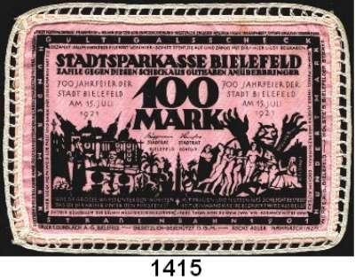 P A P I E R G E L D   -   N O T G E L D,Notgeld der besonderen Art Bielefelder Stoffgeld 100 Mark 15.7.1921.  Mit Spitze umrändelt.  Ohne Rundstempel.  Grab. 28 c.