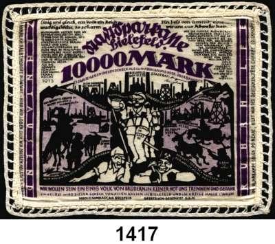 P A P I E R G E L D   -   N O T G E L D,Notgeld der besonderen Art Bielefelder Stoffgeld 10.000 Mark 15.2.1923.  Mit Spitze umrändelt.  Grab. 70 c.