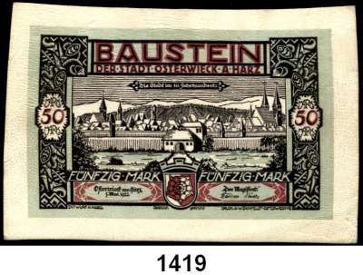 P A P I E R G E L D   -   N O T G E L D,Notgeld der besonderen Art Osterwiecker Ledergeld 20 Mark (2 kleine Heftlöcher) und 50 Mark 1.5.1922.  Grab. 350 c und 354.  LOT 2 Scheine.