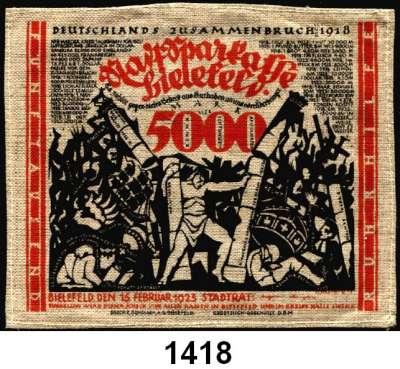 P A P I E R G E L D   -   N O T G E L D,Notgeld der besonderen Art Bielefelder Stoffgeld 25(2) Mark 15.7.1921.  Mit Rundstempel, ohne KN;  25(2) Mark 15.7.1921.  Mit drei- bzw. vierstelliger KN, ohne Rundstempel;  25 Mark 15.7.1921;  50 Mark 9.4.1922.  Ohne Rundstempel oder Unterschrift;  Mit Rundstempel, ohne KN;  50 Mark 9.4.1922.  Ohne Rundstempel, mit KN, mit Handunterschrift;  1000 Mark 15.12.1922.  Mit Rundstempel, Seide;  1000 Mark 15.12.1922.  Ohne Rundstempel, Leinen;  1000 Mark 15.12.1922.  Ohne Rundstempel, Seide;  1000 Mark 15.12.1922.  Mit Rundstempel, Leinen;  5000 Mark 15.2.1923.  Druck rot.  Grab. 16 c, 18 c, 20 b(2), 22 a, 49 d, 50 c, 57.2 a, 58.1 a, 59 b, 60 a, 67 a.  LOT 12 Scheine.