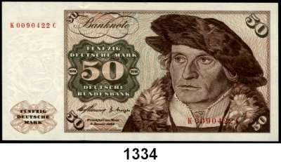 P A P I E R G E L D,BUNDESREPUBLIK DEUTSCHLAND  50 Deutsche Mark 2.1.1960.  K...C.  KN  0090422.  Ros. BRD-9 a.