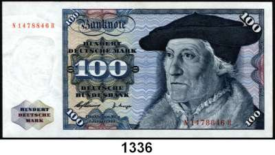 P A P I E R G E L D,BUNDESREPUBLIK DEUTSCHLAND  100 Deutsche Mark 2.1.1960.  N...R.  Ros. BRD-10 b.