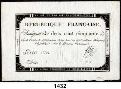 P A P I E R G E L D,AUSLÄNDISCHES  PAPIERGELD Frankreich 250 Livres 28.9.1793 (7 Vendemiaire An II).  Pick A 75.