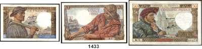 P A P I E R G E L D,AUSLÄNDISCHES  PAPIERGELD Frankreich 10(14) Francs (2.2.1939-4.12.1941);  5(2) Francs (2.6.1943-22.7.1943);   10(8) Francs(26.11.1942-13.1.1944);  20(51) Francs(12.2.1942-28.1.1943);  50(17) Francs(26.9.1940-18.12.1941);  Pick 84(14), 93(17), 98 a(2), 99 b(2), 99 e(6), 100 a(51).  LOT 92 Scheine.