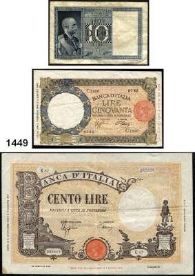 P A P I E R G E L D,AUSLÄNDISCHES  PAPIERGELD Italien 10(5) Lire(1x1938, 4x1939);  50(10) Lire 23.8.1943(8), 1.2.1944(2);  100(12) Lire(1941-1942);  100 Lire 10.10.1944.  Pick 25 b, 25c(4), 55 b(12), 66(10), 67 a.  LOT 28 Scheine.