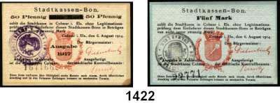 P A P I E R G E L D   -   N O T G E L D,Elsass-Lothringen Colmar 50 Pfennig, 1, 2, 3 und 5 Mark 6.8.1914.  50(Ecke fleckig) Pfennig(1917, auf 1 Mark 6.8.1914).  Dießner 1, 2, 3, 4, 5.  Tieste 1195.05.02.  LOT 6 Scheine.