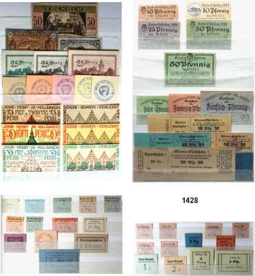P A P I E R G E L D   -   N O T G E L D,L O T S    L O T S    L O T S  Sammlung von 8468 Kleingeld- und meist Serienscheinen.  In insgesamt 13 Alben meist alphabetisch sortiert. Dabei Reutergeld und wenige Großgeldscheine.  Auch doppelte Serien.