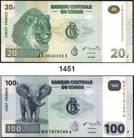 P A P I E R G E L D,AUSLÄNDISCHES  PAPIERGELD Kongo LOT von 15 (14 verschiedene) Banknoten von 1 Centime bis 500 Francs.