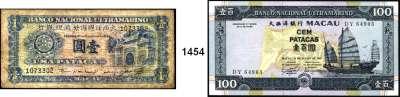 P A P I E R G E L D,AUSLÄNDISCHES  PAPIERGELD Macao LOT von 6 verschiedenen Banknoten von  1 Pataca(1945) bis 100 Patacas 2010.  Darunter Pick 28, 50 a(lochentwertet), 65 a, 67 a, 68 a.