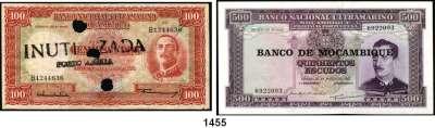 P A P I E R G E L D,AUSLÄNDISCHES  PAPIERGELD Moçambique LOT von 6 verschiedenen Banknoten von 20 Centavos(1933) bis 50000 Meticais(1993).