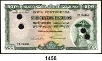P A P I E R G E L D,AUSLÄNDISCHES  PAPIERGELD Portugiesisch Indien 600 Escudos 2.1.1959.  Pick 45.