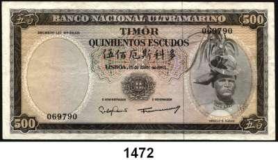 P A P I E R G E L D,AUSLÄNDISCHES  PAPIERGELD Timor 20 Escudos 24.10.1967.  100(2) Escudos 25.4.1963 und 500 Escudos 25.4.1963.  Pick 27 a, 28, 29 a.  LOT 4 Scheine.