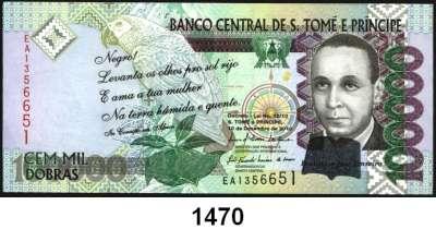 P A P I E R G E L D,AUSLÄNDISCHES  PAPIERGELD São Tomé & Principe 20.000, 50.000 und 100.000  Dobras 10.12.2010.  Pick 67 d, 68 d, 69 b.  LOT 3 Scheine.