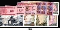 P A P I E R G E L D,AUSLÄNDISCHES  PAPIERGELD Korea/Nord LOT von 12 verschiedenen Banknoten.  Von 1 Chon bis 100 Won.