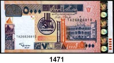 P A P I E R G E L D,AUSLÄNDISCHES  PAPIERGELD Sudan LOT von 6 verschiedenen Banknoten.  Von 100 Dinars bis 5000 Dinars.
