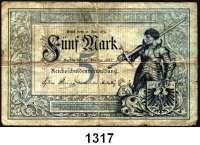 P A P I E R G E L D,K A I S E R R E I C H  5 Mark 10.1.1882.  Ros. DEU-48.
